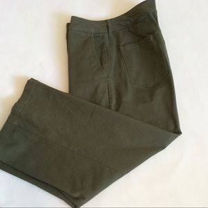 """A New Day"" Army green, wide leg pants. NWOT."